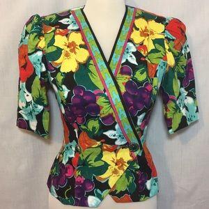 Vtg Richie Freeman Teri Blazer Floral Linen Sz 4